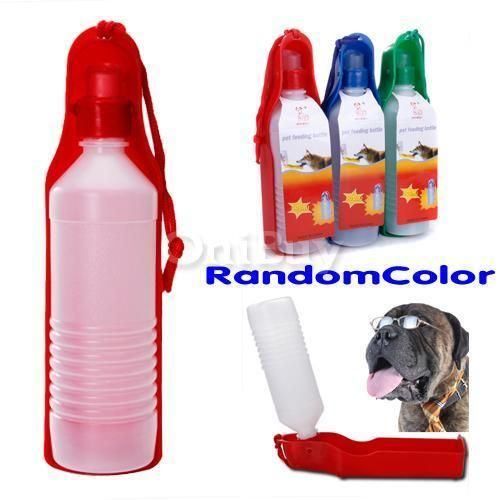 Plastic 17oz Drink Water Bottle Travel Bowl Pet Dog Cat