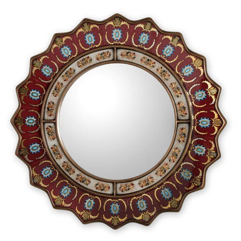 RUBY MEDALLION Reverse Painted Glass MIRROR Peru ART Mirrors