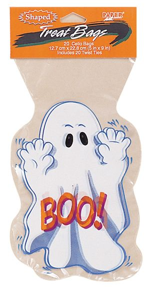 Ghost Shaped Cello Tie Halloween Party Favor Treat Bags 20 Pack