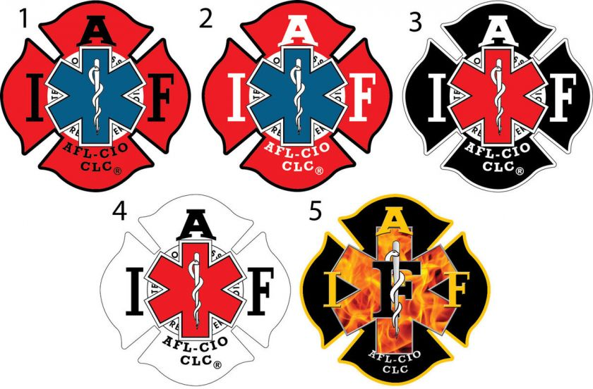 Two   4 IAFF EMS Sticker Decals Five Different Designs