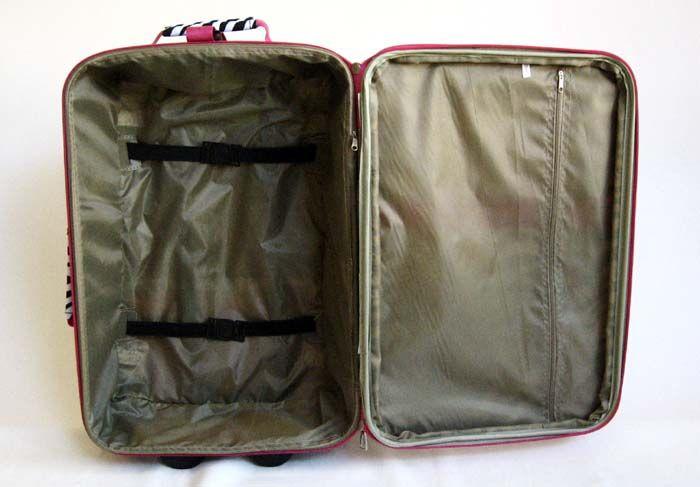 Piece Luggage Set Travel Bag Rolling Case Wheel Upright Pink Zebra