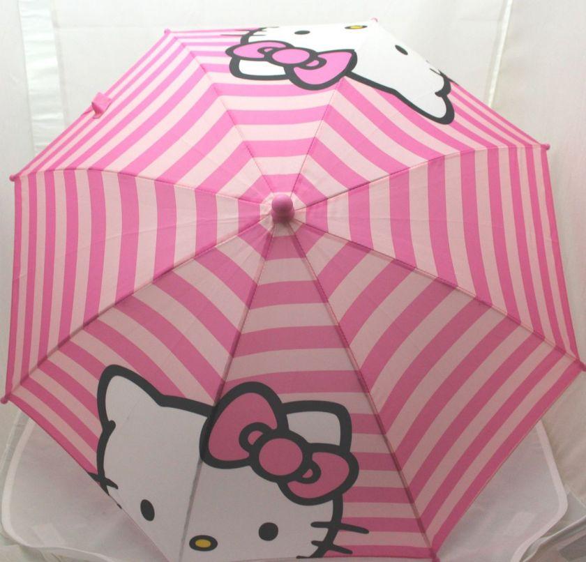 Licensed Hello Kitty KIDS Pink Stripe 3D Handle Umbrella