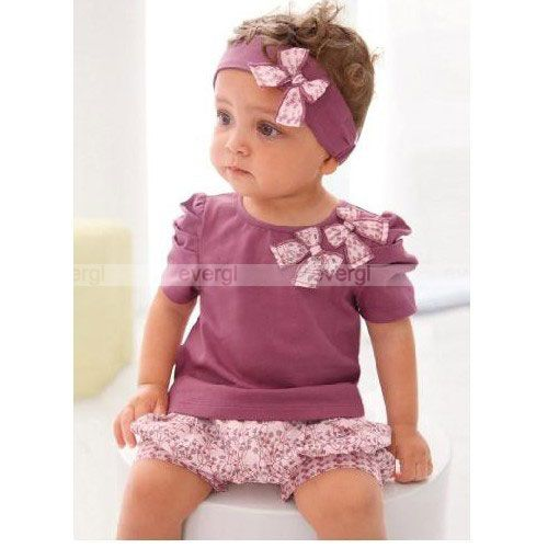 Pcs Girl Baby Short Top+ Pants+Headband Set Clothes Costume Clothing