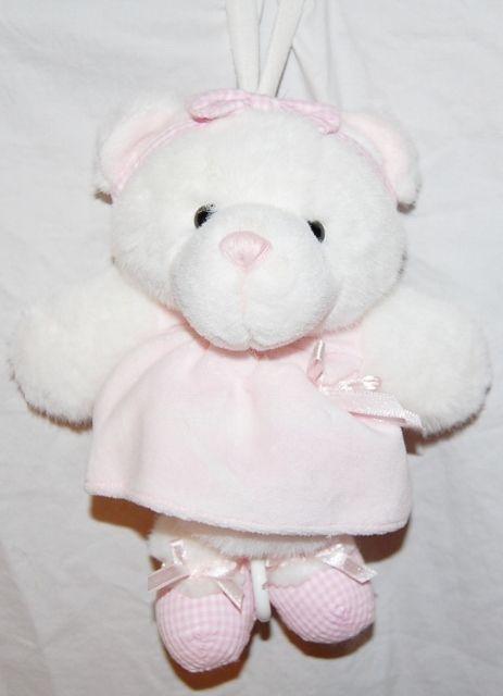 Little Me Musical Teddy Bear Plush Baby Crib Toy Pink