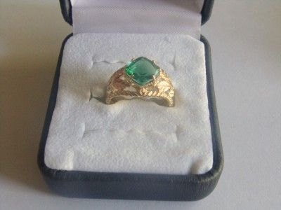 10K Gold Ring with Helenite Green Stone New  Not Scrap