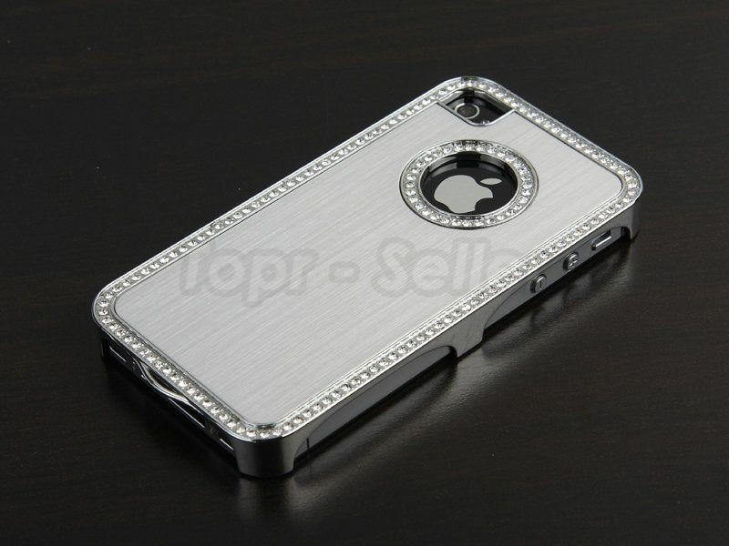 Silver Luxury Bling Diamond Aluminium Case Cover iPhone 4 4S 4G