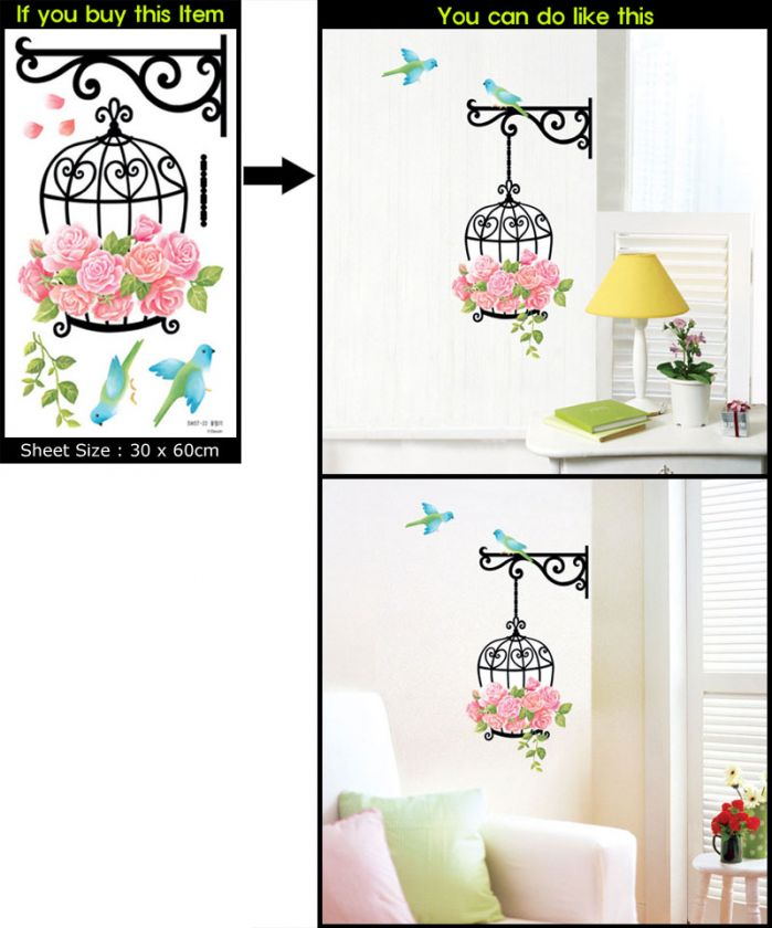 Flower Cage Decor Mural Art Wall Paper Sticker SWST 022
